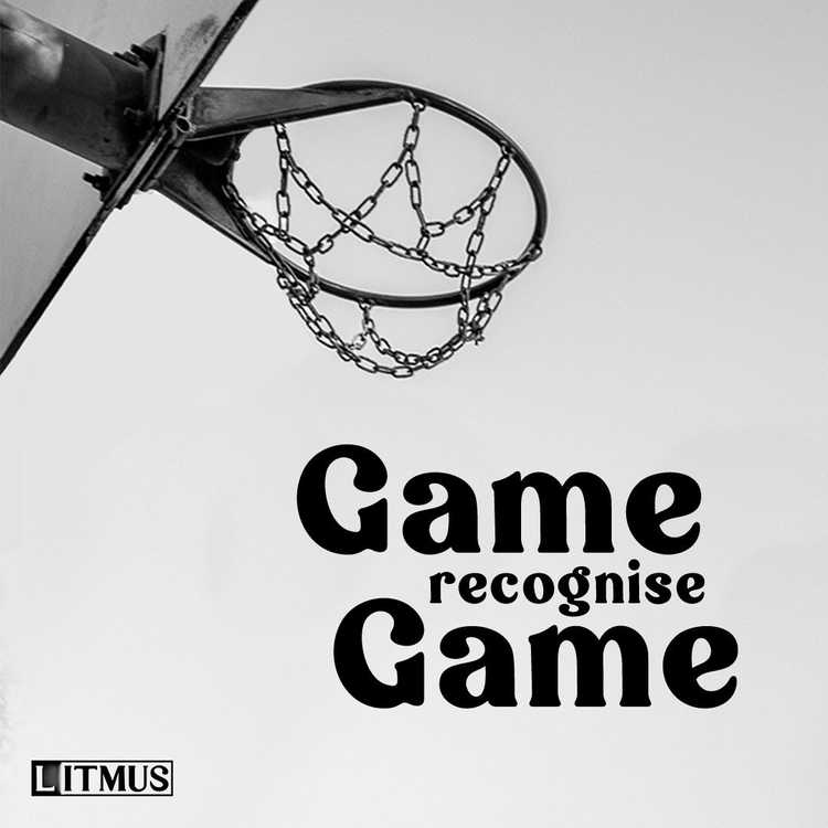 The Game Recognise Game cover tile is a black and white image of the underside of a basketball hoop. The image is taken from the event Prahran Summer Jam.