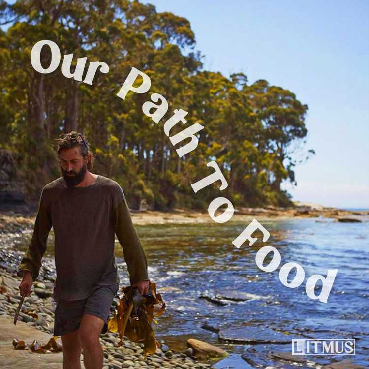 The Our Path To Food cover tile which features David Moyle, soaking wet, fully clothed and walking along a secluded rock beach holding seaweed in one hand and a knife in the other.