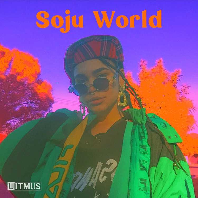 The Soju World cover tile is an image of Soju Gang wearing a tartan beret, large glasses, blingy earrings and an oversized lime green Fila jacket. The image is heavily saturated with psychedelic colours which makes the image pop in green, pinks and orange.